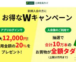 三井住友VISAカードのWキャンペーンとは?20%還元+タダチャンとは?